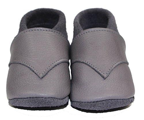 Babyschuhe, handgemacht, Anti-allergie zertifiziert, aus Oeko Leder aus Deutschland, Unifarben (21, Navy blue) Grey