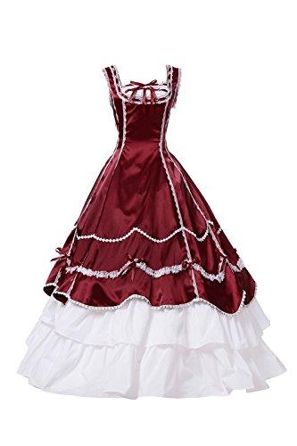 Damen Mittelalterlichen Viktorianischen Kleid Halloween Gothic Cosplay Kostüm (36, CC3502F-NI) (Victorian Lady Kostüme Perücke)