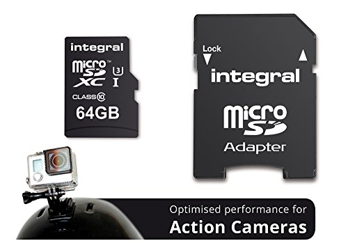 Integral - Memory card INMSDH32G10-ACTION Ultra High Speed UHS-I U3 32 GB MicroSDHC per videocamera 4K Black 64 go