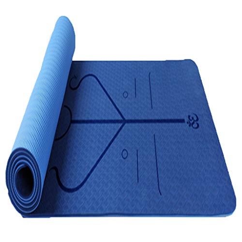 Yogamatte Multifunktionsmatte grüne rutschfest reißfest mit Schultergurt Aerobic Pilates und professionelle Yogaübungen (Color : Blue)