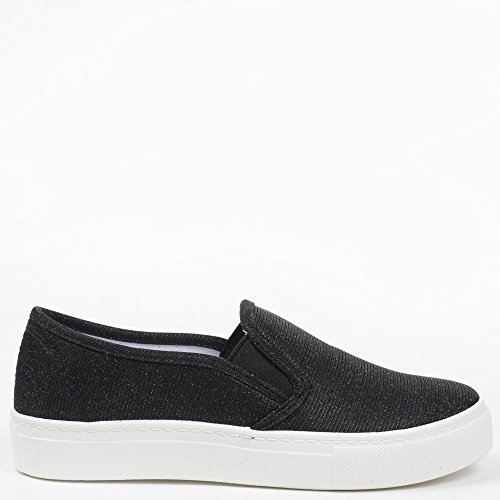 Ideal Shoes Samira – scarpe slip-on effetto glitter Nero