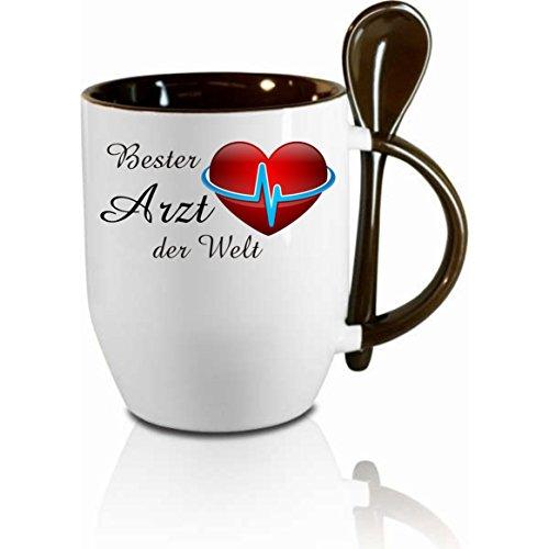 Tasse m. Löffel ' Bester Arzt der Welt ' Löffeltasse, Kaffeetasse mit Motiv,Bürotasse, bedruckte...