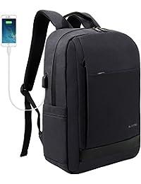 Mochilas para portátiles y netbooks con puerto de carga USB para hombres mujeres Organized Space School Business Bag 15 15.6 pulgadas (15.6 pulgadas + USB, Negro)