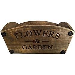 Nuevo hogar al aire libre jardín estilo vintage madera flores maceta cesta–Flores