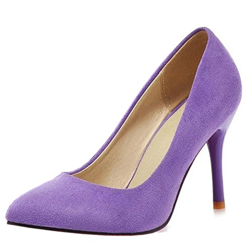 COOLCEPT Damen Mode-Event Geschlossene Pumps Stiletto Hochzeit Shoes Violett