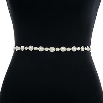 ULAPAN Women's Pearls Bridal Sashes Bridal Belts Diamonds Wedding Belts Wedding Sashes (Brown)