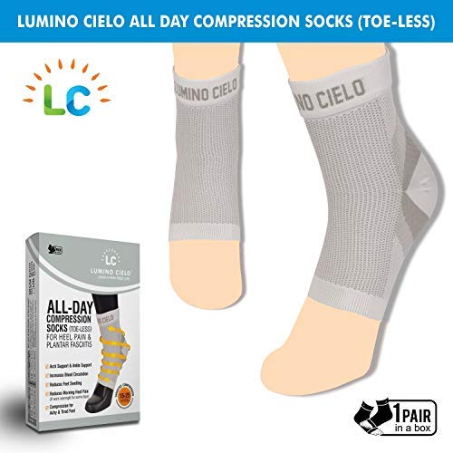 Lumino Cielo All-Day Compression Socks (toe-less, Sleeve Style) for Heel Pain & Plantar Fasciitis (White, L/XL)