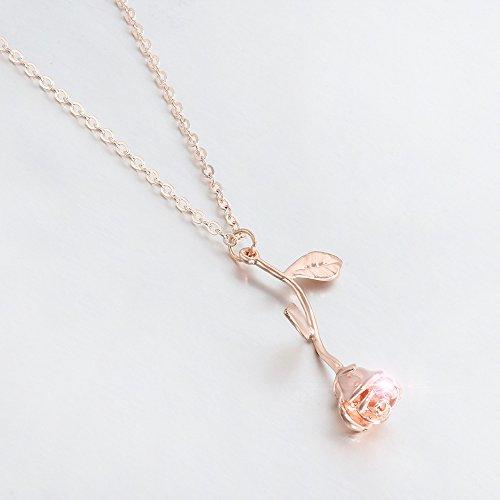 788159baf141 Xiang Ru Femme Bijoux Collier Pendentif Fleur de Rose Fantaisie Mariage  Anniversaire Or Rose