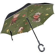 MyDaily Paraguas invertido de doble capa para coches, paraguas invertido, bonito Fox, diseño de flores, resistente al viento, resistente a los rayos UV, paraguas de viaje al aire libre