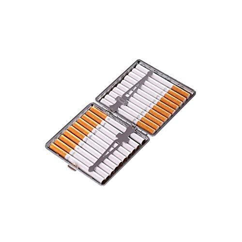 Nombre del producto: Creative Metal Cigarette Case.Peso bruto del producto: 140 g.Color: oro, plata.Especificaciones: 14 paquetes, 16 paquetes, 18 paquetes, 20 paquetes.Material: cuero, metal.Tamaño: Tamaño: 14 paquetes de 9.7 * 6.8 * 1.9cm, 16 paque...