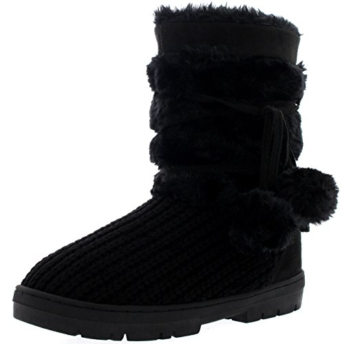 Damen Schuhe Pom Pom Fell Schnee Regen Stiefel Winter Fur Boots Schwarz Gestrickt