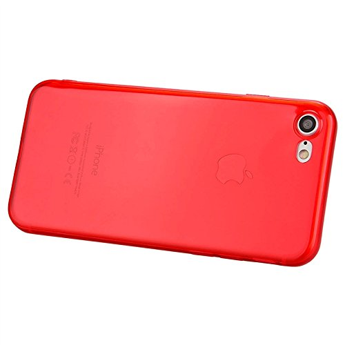 iPhone 7 Plus Hülle, Yokata Klar Einfarbig Jelly Weich Silikon Gel Case Ultra Slim Cover Schutzhülle Sehr Dünn Handyhülle - Blau Rot
