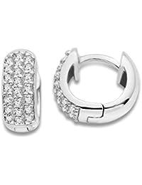 Miore Damen-Creolen 925 Sterling Silber Cubic Zirkonia 925 Silber rhodiniert weiß Rundschliff - MSAE028E