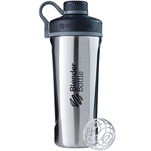 BlenderBottle Radian Edelstahl , Wasserflasche , Protein Shaker, Diät Shaker, Fitness Shaker , BPA frei , mit BlenderBall , Isolierflasche , Doppelwandig - Edelstahl (770ml - skaliert bis 530 ml)