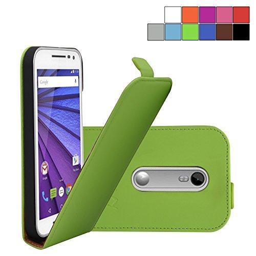 COOVY® Cover für Motorola Moto G (3. Generation Model 2015) Slim Flip Case Tasche Etui inklusive gratis Bildschirmschutzfolie | Farbe grün