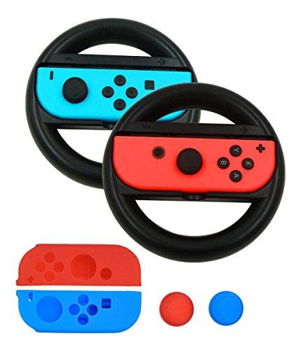 yocou joy-con Rad für Nintendo Controller, Silikon joy-con Gel Wachen, 2Stück 4IN1 -