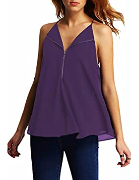 QIYUN.Z Camisa Sin Mangas Gasa Blusas para Mujer Tops Cuello del Halter Camisetas