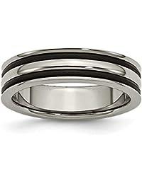 Titan 6mm Gerillt Schwarz Gummi Poliert Band Ring–Ring Größe Optionen Serie: L bis Z