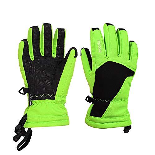 Cldpbl guanti da sci per bambini, guanti caldi in velluto a tinta unita impermeabili più vivi sport all'aria aperta, sci, pattinaggio a rotelle, ragazzi e ragazze in alpinismo,green,m