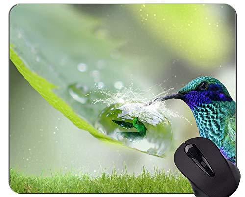 Kundengebundenes Rechteck-nicht Beleg-GummiMousepad, Fantasiekolibri-Natur Mauspad