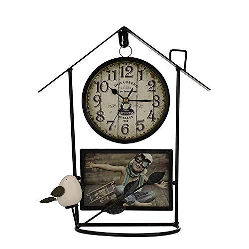 YHLU Retro Birdcage Wanduhr, Keramik Vogelwohn Zimmer Dekoration, 33 * 17,5 cm,Black