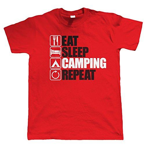 Vectorbomb, Eat Sleep Zelten Wiederholen sie die, Herren Lustige, Outdoor T-Shirt (S zu 5XL) Rot
