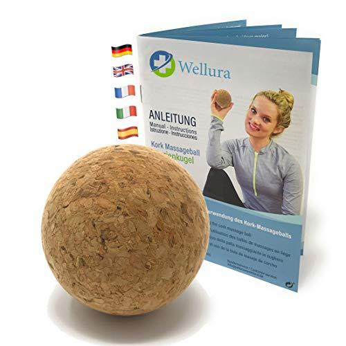 Corcho de gran calidad Masaje (Incluye übungsbuch-5cm Fascia bola contra contracturas-naturales Trigger punto de masaje acupresión-Fascia Entrenamiento para automasaje-Producto natural