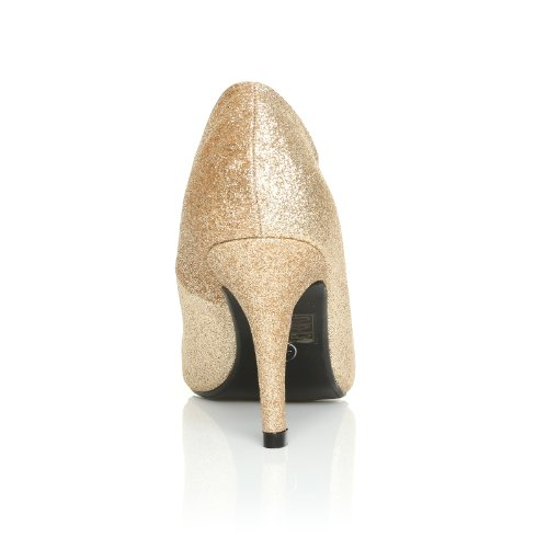 PEARL Scarpe Decolletè da Donna con Tacco a Spillo Champagne Glitter Classiche Eleganti da Ufficio dorado - CHAMPAGNE GLITTER