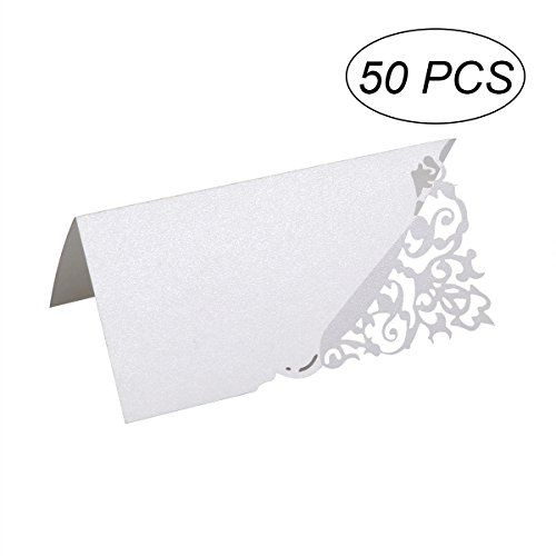 50PCS Hollow Flower Cut Name Place Card Table Decoration Small Tent Cards for Wedding Party (White)
