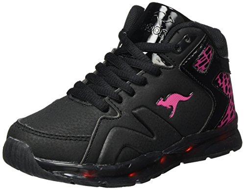 KangaROOS Unisex-Kinder K-Lev VI Hi Hohe Sneaker, Schwarz (Jet Black/Blossom Pink), 37 EU (High-top-sneaker Pink)