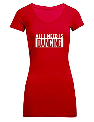 All I need is dancing, Frauen T-Shirt Extra Lang - ID102996 cherryberry