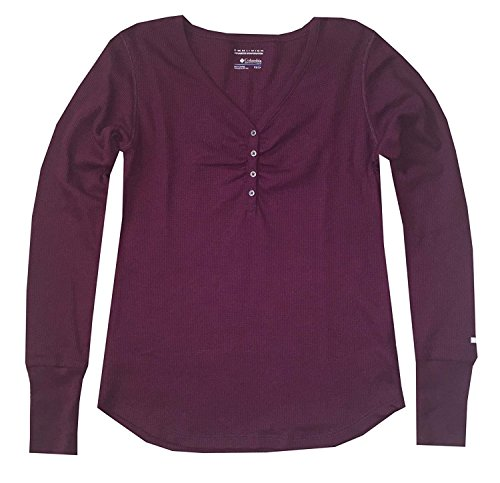 Thermal Henley Tee (Columbia Women Glenwood Springs V-Neck Thermal Long Sleeve Henley T-Shirt (XS, Dark magenta))