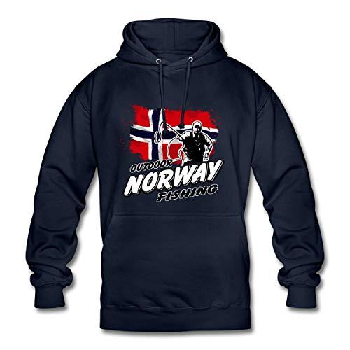 Spreadshirt Angeln Norway Outdoor Fishing Angelurlaub Unisex Hoodie, XL, Navy