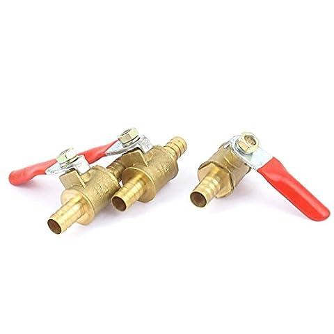 sourcingmap® 3pcs 8mm Hose Barb Tube Red Plastic Handle Coated Brass Ball Valve de coupure de carburant