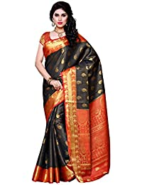 Mimosa Women's Silk Saree (225-Blk-Red,Black,Free Size)