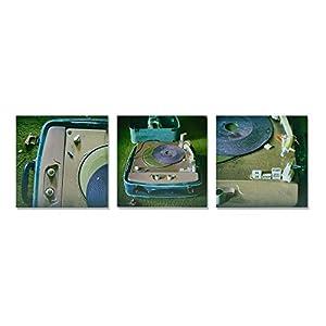 3er Set Schallplattenspieler Vintage Lost Place Foto auf Holz, im Quadrat, 10 x 10 cm