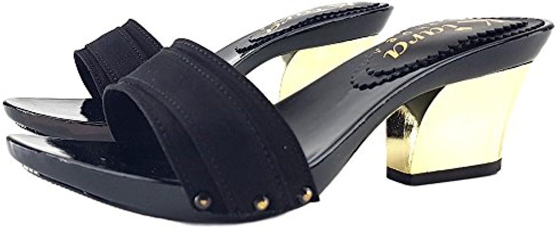 Kiara scarpe Zoccoli Neri Comodi Tacco 7 cm-K28501NERO   Nuovo    Uomo/Donne Scarpa