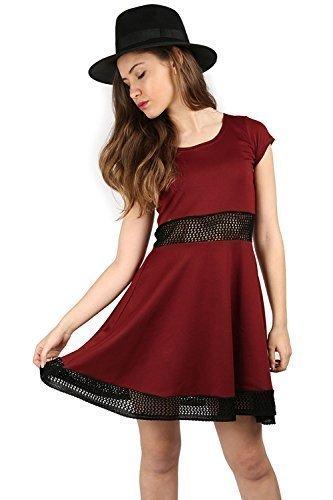 Damen Flügelärmel Hüfte Strick Net Mittellang Skater Midi Kleid Übergröße Rouge - Rouge bordeaux