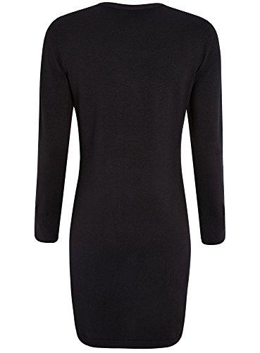 oodji Collection Damen Viskose-Kleid Basic mit Knöpfen auf den Ärmeln Schwarz (2900N)