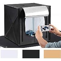"""Amzdeal Photo Studio 20""""x20""""/50*50cm Portable Photo Box Light Tent Lighting Kit with 2pcs 5500K LED Lighting Foldable Cube Professional Photography Box (White / Black / Orange Backdrops)"""