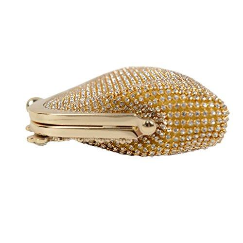 Yingzu Delle donne Lusso Gnocco di S haped Frizione Strass Partito Sera Borsa (Argento) Oro