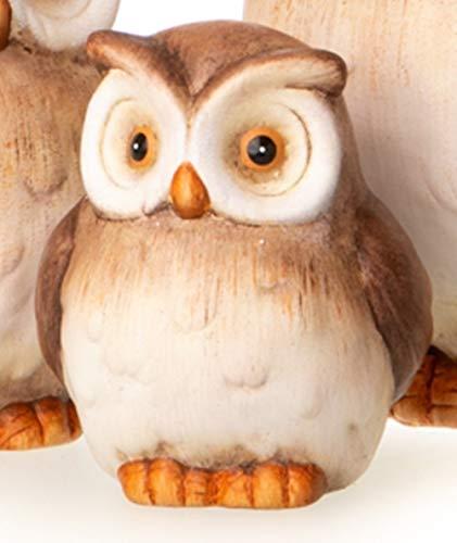 dekojohnson Eule Owl Eulen-Figur Deko-Kautz Herbsteule Herbstdeko/Weihnachten Landhaus Wintereule braun beige 17cm Groß