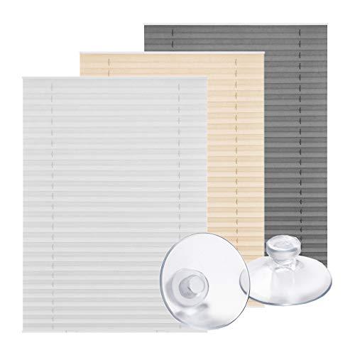 Lichtblick Dachfenster-Plissee Haftfix, 47,3 x 100 cm (B x L) in Weiß, Sicht- & Sonnenschutz-Rollo ohne Bohren, Jalousie mit Saugnäpfen, für (Dachflächen-) Fenster, Velux-kompatibel (F06/FK06)