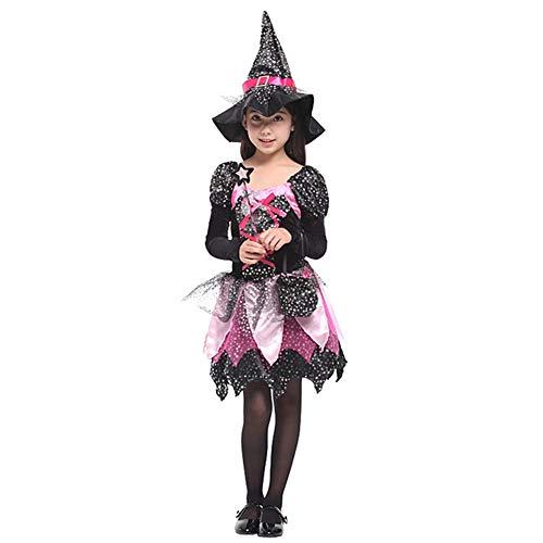 Stich Hexe Kostüm - CYGGA Hexenkostüm für Kinder Mädchen Halloween Kostüm Hexenkleid mit Hexenhut,L(120~130CM)