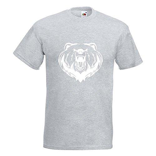 Kiwistar Grizzly Bear - Bär - T-Shirt in 15 Verschiedenen Farben - Herren Funshirt Bedruckt Design Sprüche Spruch Motive Oberteil Baumwolle Print Größe S M L XL XXL Graumeliert
