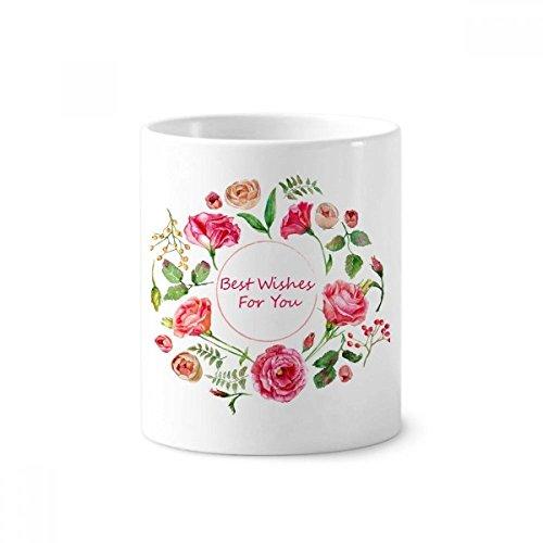 diythinker rot Rosen Bush Muster Blumen Keramik Zahnbürste Stifthalter Becher weiß Tasse 350ml Geschenk 9,6cm hoch x 8,2cm Durchmesser (Bush Sockel)