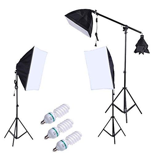 Andoer® Fotografia Photo Professional Lighting Kit Set con 5500K 135W Daylight Studio Light Bulb basamento quadrato Cubo Softbox sbalzo Bag