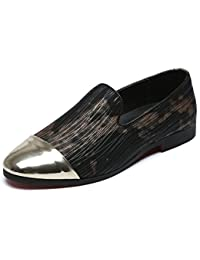a0bd134fee42 Santimon Fashion Loafers Men Slip on Shoes Steel Toe Cap Smoking Slipper  Moccasins Evening Party Gold