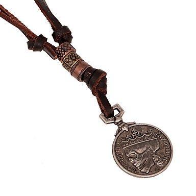 Classic Coin Collar colgante de calavera de piel color marrón Steampunk Chunky colgantes joyas para hombres