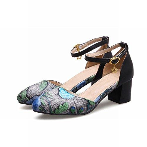 Mee Shoes Damen chunky heels ankle strap Schnalle Pumps Blau